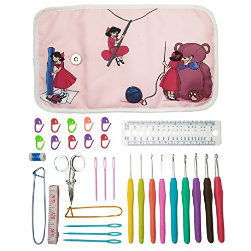 Essential Crochet Set - 9 Ergonomic comfort grip crochet hooks, accessories and roll-up organizer bag case with cute design - MozArt Supplies