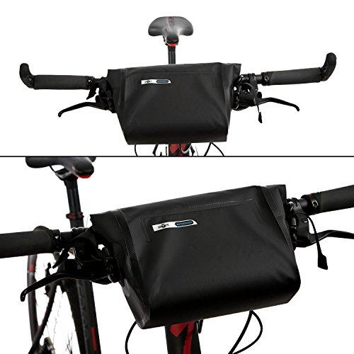 BTR Wasserfeste Allwetter Lenkertasche für jedes Fahrrad mit abnehmbaren Schultergurt und 6 GRATIS Reparaturflicken. Fahrradtasche Wasserdicht Lenkertasche Fahrrad Wasserdicht KkWla