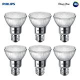 Philips LED 471144 50 Watt Equivalent Classic Glass PAR20 Dimmable LED Flood Light Bulb (6 Pack), Bright White, 6 Piece