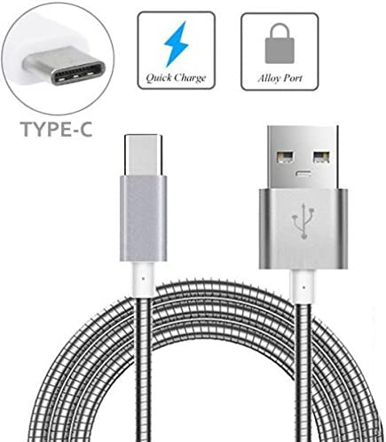 for Essential PH-1 Huawei Google Nexus 6P Silver Metal Braided USB Cable Charge Power Sync Type-C Wire 6ft Long USB-C Data Cord Huawei Honor 8 Supports Fast Charge