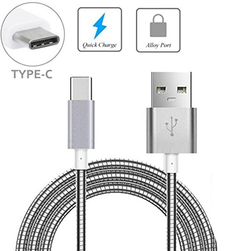 Durable Metal Braided Type-C USB Cable Charger Power Sync Wire USB-C Data Cord [Silver] [Fast Charge] for ZTE Blade X MAX, Grand X Max 2, X3, X4, Duo LTE, XL, ZMax Pro Z981