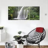 Liguo88 Custom canvas Natural Waterfall Decor Collection Rainforest Waterfall In Indonesia Tropical Trees Adventure Picture Bedroom Living Room Wall Hanging