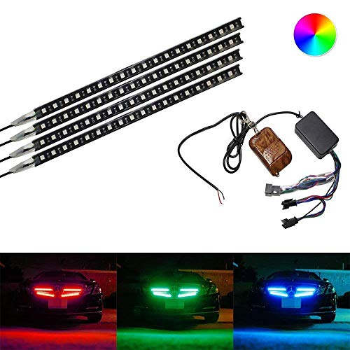 2017 Chrysler Sebring Grille - iJDMTOY 4-piece 12 inches Multi-Color RGB LED Knight Rider Scanner Lighting Bar For Car Interior or Exterior Decoration