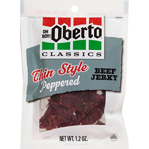 Oh Boy! Oberto Classics Peppered Thin Style Beef Jerky, 1.2 Ounce-Bag (Pack of 8)