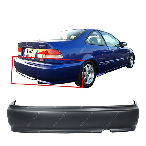 MBI AUTO - Primered, Rear Bumper Cover Replacement for 1999 2000 Honda Civic 99 00, HO1100190 (Rear Bumper Honda 00 Civic)
