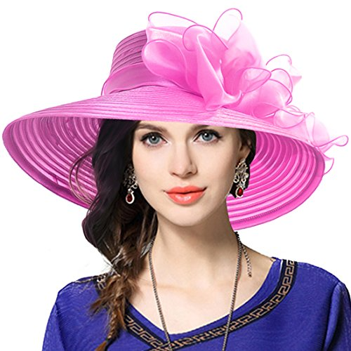 VECRY Women's Dressy Church Baptism Wedding Derby Hat (Rose)
