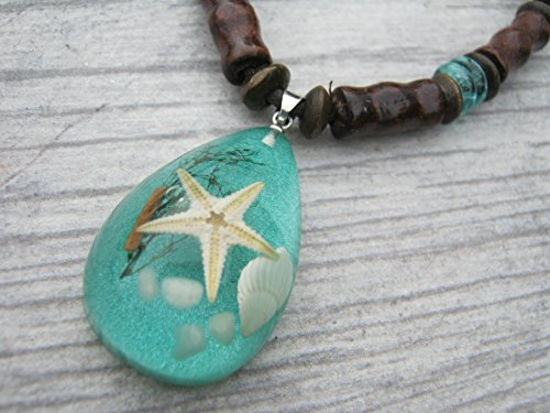 Starfish Necklace, Real Pressed Beach Shell Pendant, Adjustable Tribal Necklace, Vegan Unisex Necklace, SEAFOAM (Handmade Shell Jewelry)