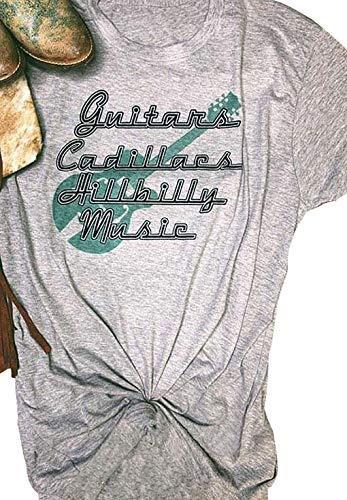 Guitars Cadillacs Hillbilly Music T-Shirt Women Funny Letter Print Short Sleeves Casual Tee Blouse (Gray, S)
