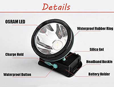 NewVan Tech Waterproof 35W Headlamp Flashlight with High Power LED Rechargeable Headlight for Camping, Running, Hiking, Fishing