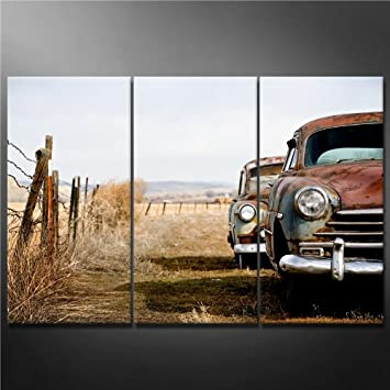 canvas print wall art painting for home decor vintage cars abandoned and rusting away in rural