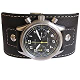 EULIT Germany 20mm Wide Black Riveted Cuff Buffalo-Grain Leather Mens Watch Strap
