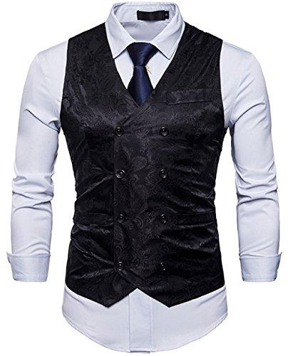 - WANNEW Mens Suit Vest Waistcoat Business Dress Vests Paisley Vest for Suit or Tuxedo (Black, M)
