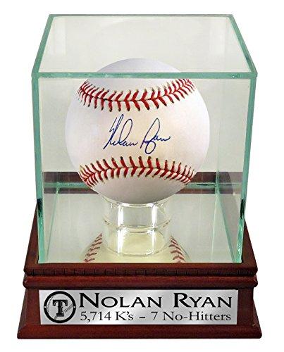 "Nolan Ryan Autographed Official MLB Baseball w/ Case & Custom Rangers ""5,714 K's – 7 No-Hitters"" Plate (COA)"