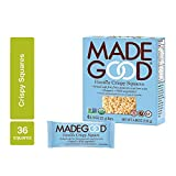 MadeGood Vanilla Crispy Squares, 6 Pack (36 count); Crunchy Rice with Smooth Rich Vanilla; Contains Nutrients of One Full Serving of Vegetables; Gluten-Free, Nut-Free, Organic, Vegan, Non-GMO Treat Review