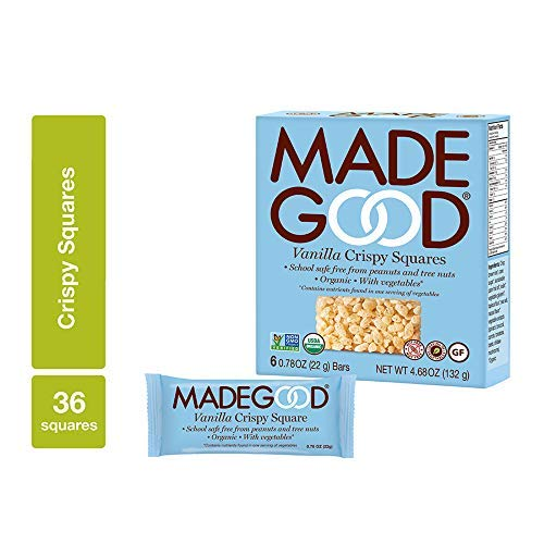 MadeGood Vanilla Crispy Squares, 6 Pack (36 count); Crunchy Rice with Smooth Rich Vanilla; Contains Nutrients of One Full Serving of Vegetables; Gluten-Free, Nut-Free, Organic, Vegan, Non-GMO Treat -