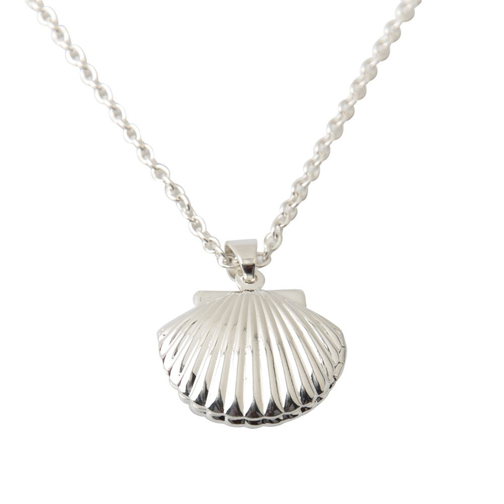 HUAMING Necklace Womens Fashion Locket Seashell Pendant Necklace Sea Shell Shape Pendant Necklace Jewelry (Silver)