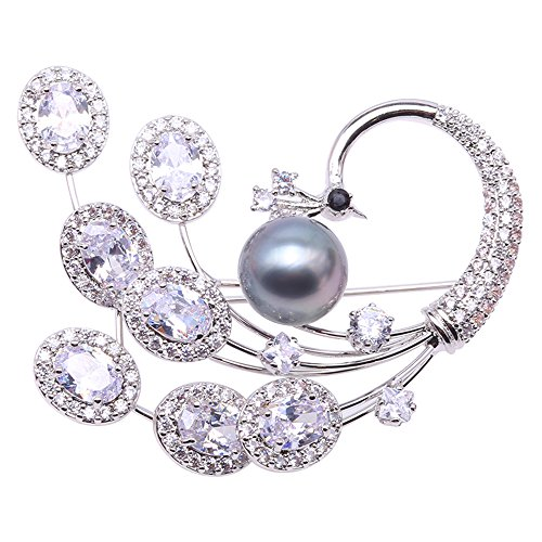 Round Pearl Green South Sea (JYX Tahitian Pearl Peacock Brooch 10.5mm Grey Rpund Tahitian Seawater Cultured Pearl Brooch Pin)