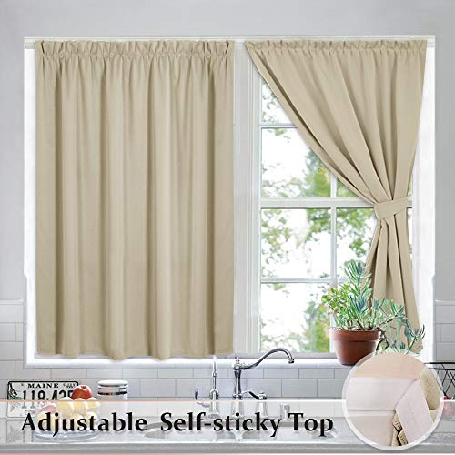 RYB HOME Cream Beige Room Darkening Curtains for Living Room, Insulated Wall Panels for Small Windows/Bedroom/Kitchen, with Self-Sticky Strap & 2 Tiebacks, 40 x 63 inch per Panel,2 Panels (Horizontal Window Curtain)