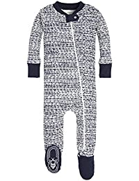 Baby Boys' Sleeper Pajamas, Zip Front Non-Slip Footed Sleeper PJs, 100% Organic Cotton