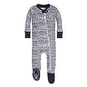 Burt's Bees Baby Baby Boys' Pajamas, Zip Front Non-Slip Footed Sleeper Pjs, 100% Organic Cotton, Midnight Brush Strokes, 3-6 Months
