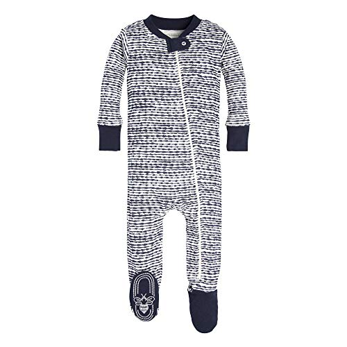 Burt's Bees Baby Boys Pajamas, Zip Front Non-Slip Footed Sleeper PJs, 100% Organic Cotton, Midnight Brush Strokes, 18 Months