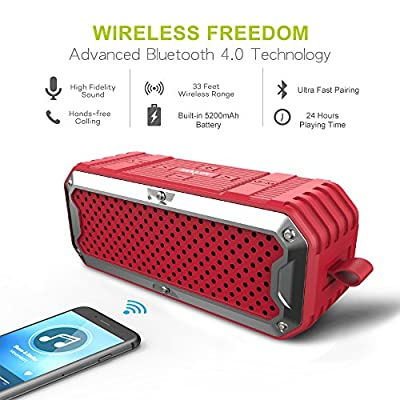 ZEALOT S6 Portable Wireless Bluetooth Speakers Power Bank with Built-in 5200mAh Battery,IP65 Waterproof&Dustproof,Dual Drivers&Subwoofer,Aux Audio/TF Card Supported - Red