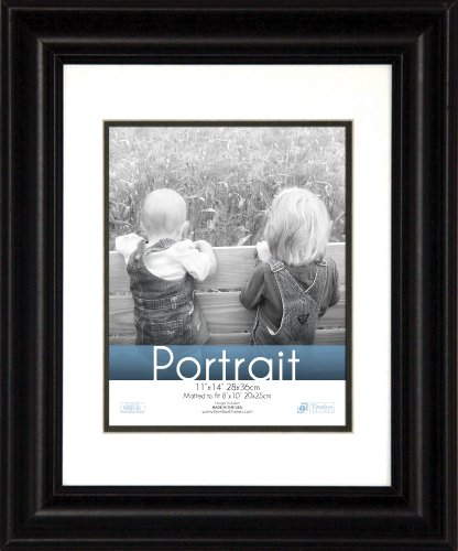 Timeless Frames 11x14 Inch Fits 8x10 Inch Photo Lauren Portrait Wall Frame, Black