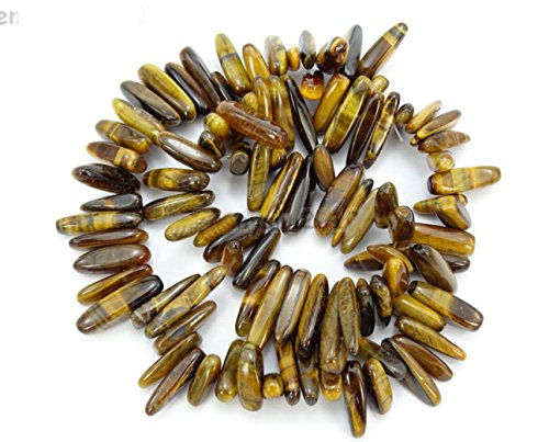 (AAA Natural Tiger Eye Gemstones Smooth Tooth-Shaped Free-form Loose Beads ~23x7mm beads for Jewelry Making (1 strand, ~16