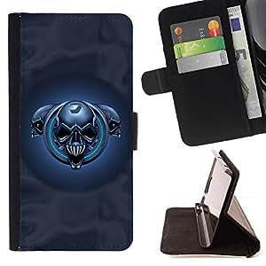 For HTC One M7 Case , Cráneos azules- la tarjeta de Crédito Slots PU Funda de cuero Monedero caso cubierta de piel