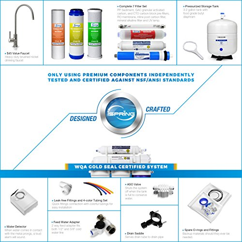 iSpring RCC7AK-UV Deluxe Under Sink 7-Stage Reverse Osmosis Drinking Water Filtration System with Alkaline Remineralization and UV Sterilizer by iSpring (Image #4)
