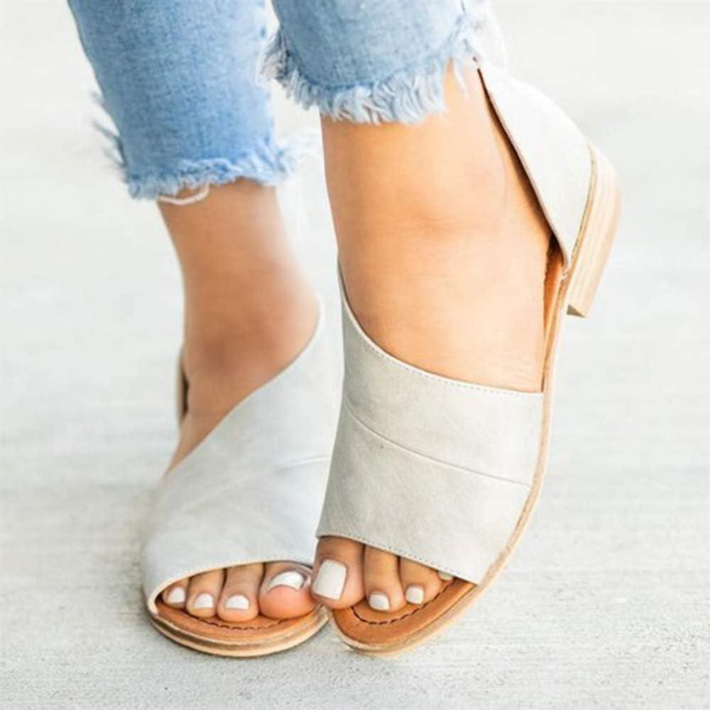 Manooby Femme Sandales Talons Plates /Ét/é Poisson Bouche Chaussures /à la Mode PU Cuir avec Boucle