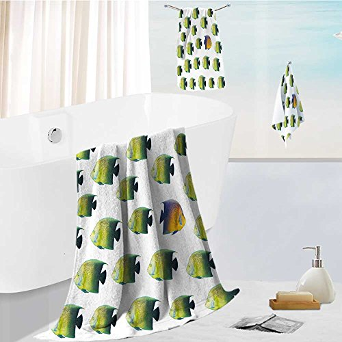 Leighhome Premium quality 100% Cotton Super Soft going different way and standing out of crowd concept with angelfish Uber Absorbent and Fluffy 3 Piece Towel Set