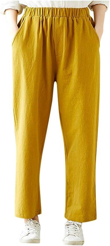 Pantalones Mujer Cintura Elastica Mujeres Moda Algodon Calido Bolsillos De Lino Solido Harem Pantalon Suelto Elastico Amazon Es Ropa Y Accesorios
