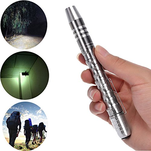 SKYWOLFEYE 1200 LM CREE Q5 Lamp Waterproof LED Flashlight Torch,Tactical Focus Bright Compact-Silver,Perfect For Hiking, Camping, Blackouts and Emergencies (A2)