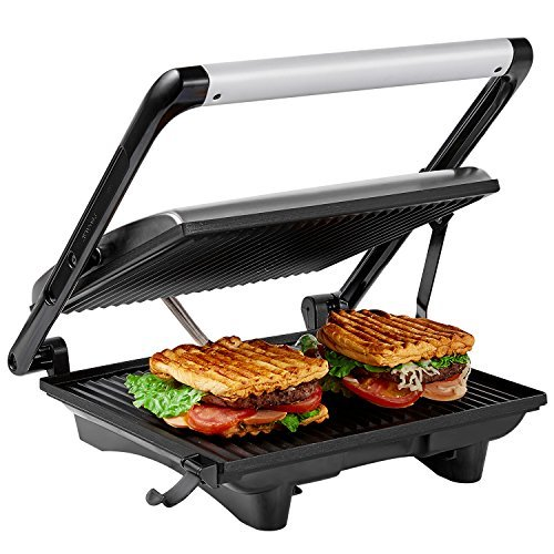 Aicok Panini Press Grill, Panini Maker, Sandwich Maker with 11.6' x 10.4' Nonstick Plates, Cafe-Style Floating Lid, Removable Drip Tray, 1200W, Silver