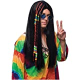 Long Black Hippie Wig Costume Accessory