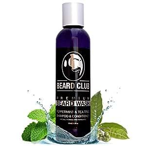 Premium Beard Champú y Acondicionador   Menta y árbol del té   125ml   Beard Club   100% Natural y Biológico Champú de para hombres   Jabón líquido para la barba  Promueve un Crecimiento Saludable