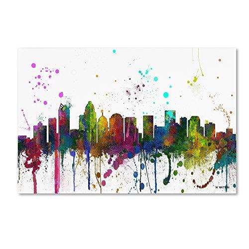 Charlotte NC Skyline Mclr-1 by Marlene Watson, 12×19-Inch Canvas Wall Art