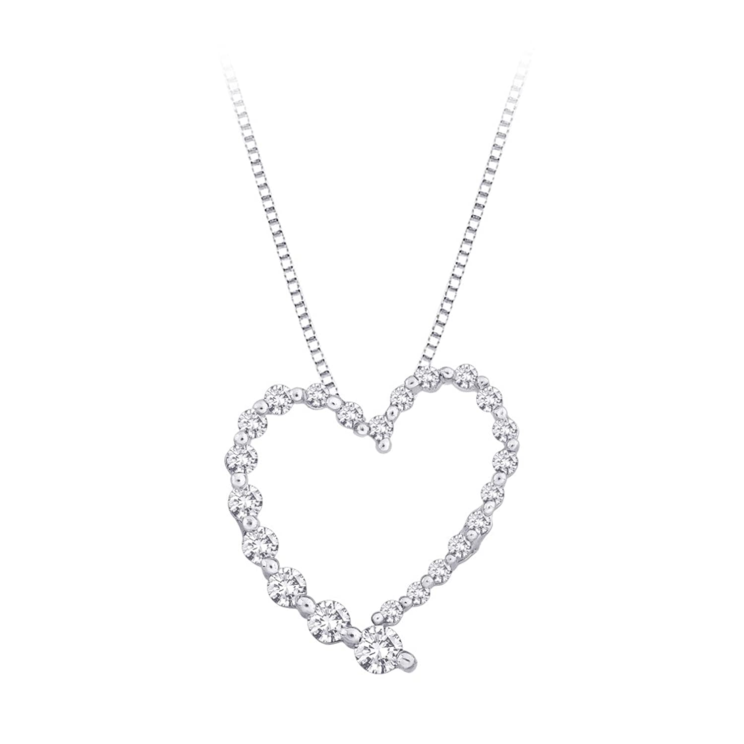 "Diamond ""Journey of Love"" Heart Pendant with Chain in 14K White Gold (1/4 cttw)"