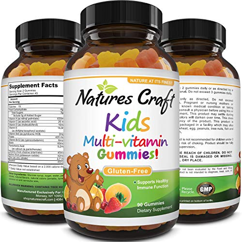 Gummy Vitamins for Kids Immune Support – Children's Vitamins Supplements for Toddler and Kids Health – Kids Multivitamin Gummy Bears Natural Energy Supplement with B Complex Vitamins – Gluten Free