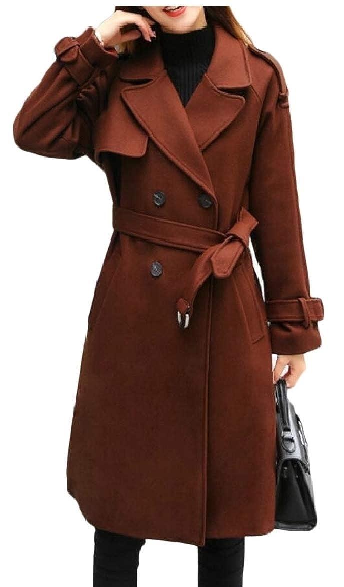 1 LEISHOP Women Winter DoubleBreasted Slim Solid WoolBlend Pea Coats