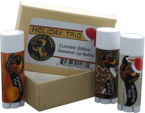 Joshua Tree Lip Balm - Holiday Trio Gift Set (Holiday Nogg, Ginger Bread and Punkin - Pie Punkin
