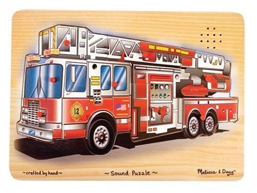 Melissa & Doug Fire Truck Sound Puzzle - Wooden Peg Puzzle W