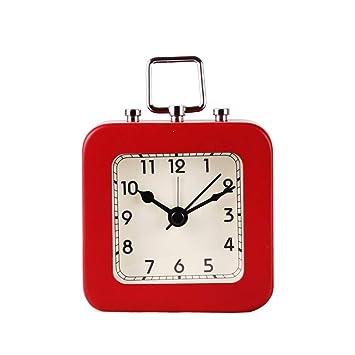 Vosarea Reloj Despertador Multifunción Cuadrado Reloj Digital Reloj de Mesa silencioso con asa para Habitaciones Junto a la Cama Viaje en casa Reloj de ...