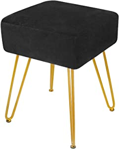 Velvet Footrest Stool Ottoman Round Modern Upholstered Vanity Footstool Side Table Seat Dressing Chair with Golden Metal Leg (Black Square)