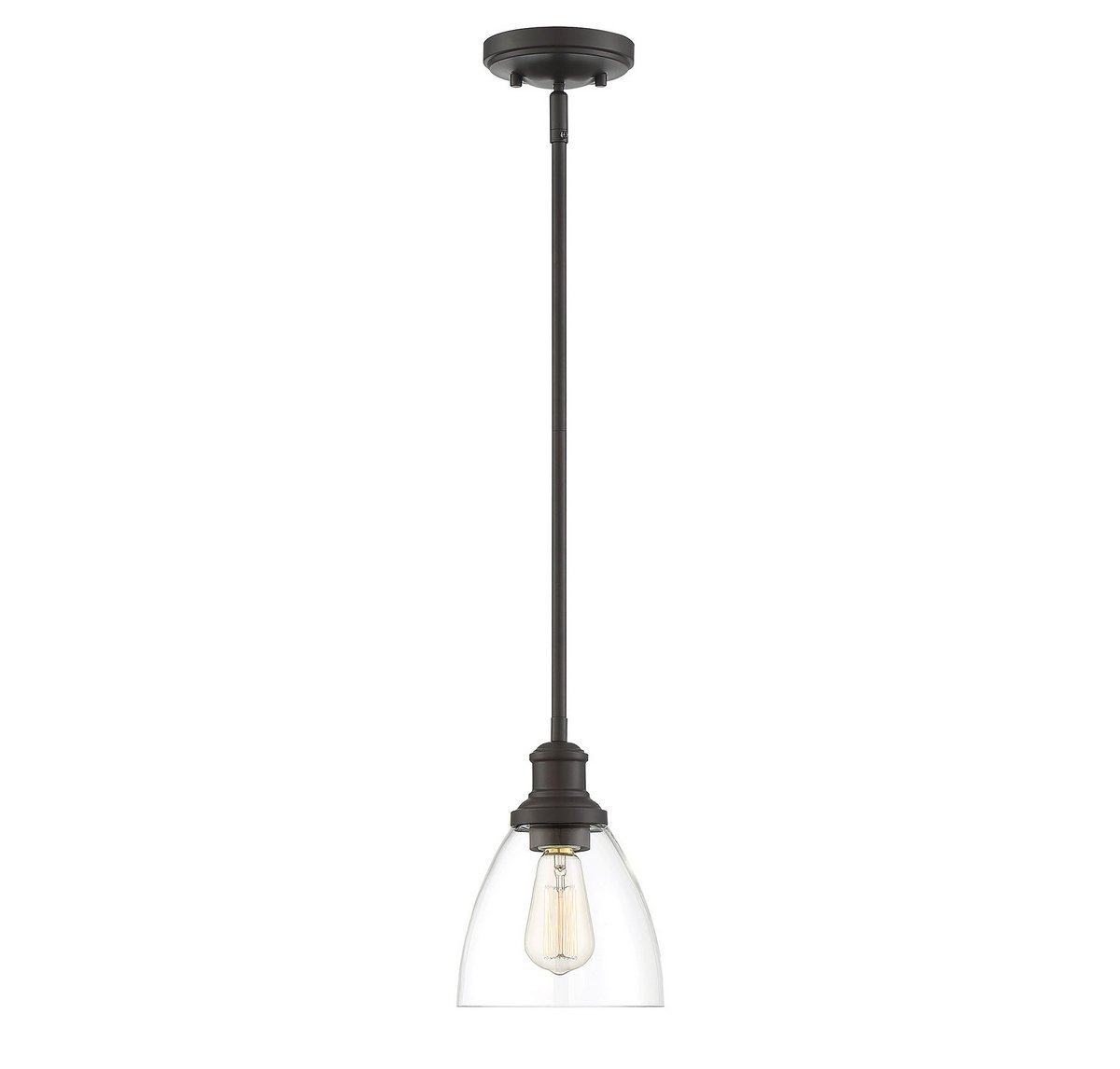 Trade Winds Lighting TW70052ORB Adjustable Hanging Clear Glass Contemporary Ceiling Pendant in Oil Rubbed Bronze