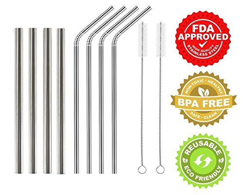 Set of 8 Stainless Steel Straws – 4 Straight Extra Wide + 4 Bent Angled Extra Long Straws – Great for Smoothie, Shakes, Thick Drinks or juices – Reusable Straws – BPA free – 2 Bonus Cleaning Brush by Green Heart
