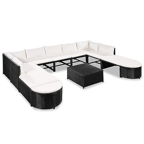 vidaXL Set Sofás de Jardín Ratán Sintético Negro Blanco ...