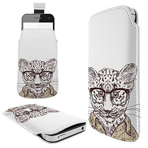 936 - Baby Leopard Cheetah Nerd Glasses Clothing Wildlife Illustration Cat Kitten Feline LG G3 G4 G5 K8 LG NEXUS 5X Fashion Slim PU Soft Pull Tab Pouch Case Sleeve Cover