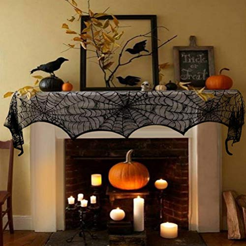 Halloween Decorations Black Lace Spiderweb Fireplace 18x96 Inch Mantle Scarf Cover Party -